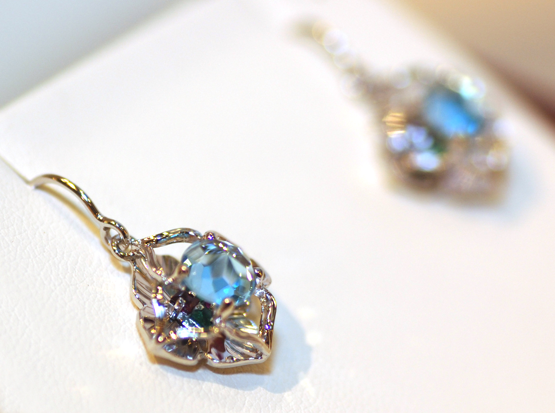 diamond enchanted and s white blue earrings gold topaz cinderella briolette disney
